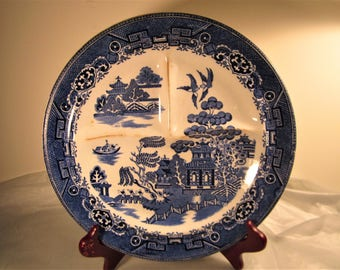 Vintage willow pattern sectional plate.