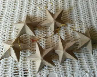 "Paper Mache Star ornaments 3""1/2 unfinished paper mache DIY Christmas mini stars crafts supplies paper ornaments kids crafts supplies"