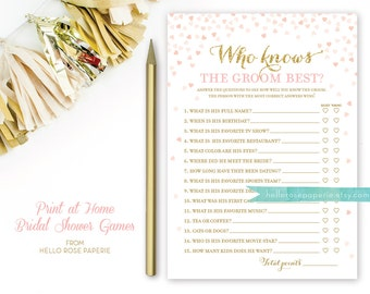 Pink and Gold Bridal Shower Games . Who Knows the Groom Best . Bridal Shower Games Printable Instant Download . Glitter Confetti Hearts