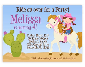 Cowgirl Invitation - Adorable Pink Girl Cowgirl, Horse and Desert Cactus Personalized Birthday Party Invite - a Digital Printable File