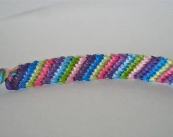 Friendship Bracelet - Fading Cool Colors Candy Stripe