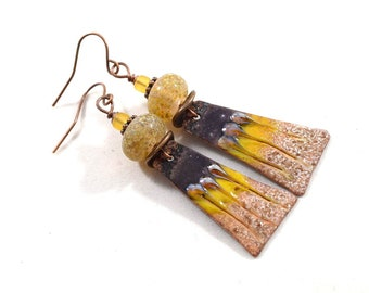 Brown and Yellow Handmade Earrings, Enameled Earrings, Brown and Yellow Earrings, Boho Earrings, Copper Earrings, Artisan Earrings, E029