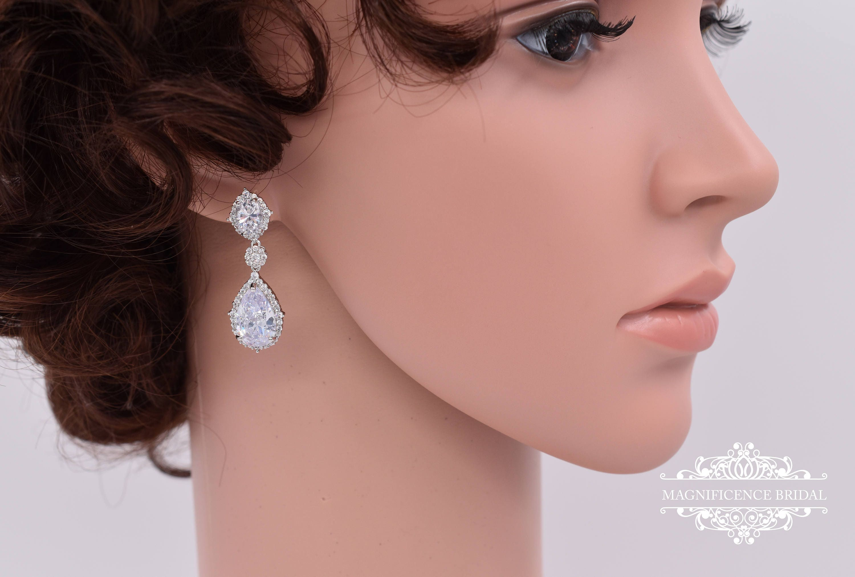 dress on earring model anna bridal pandora bellagio earrings nadia drop wedding kkc gown dramatic