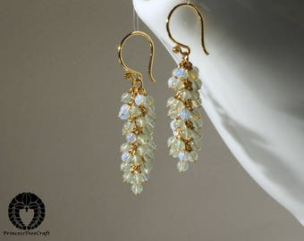 Tiny green aventurine and opalite opal cluster earrings with 24K gold on 925 sterling silver ear wire