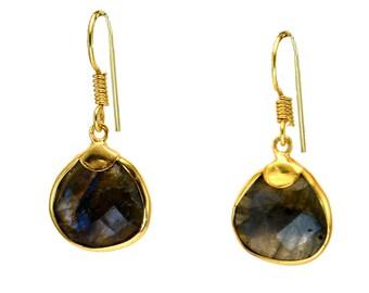 Bezel set earrings-Gemstone Labradorite earring,18K gold plated earrings,minimalist earrings,Holiday jewelry gift for her