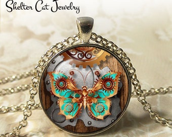 "Steampunk Mechanical Butterfly Necklace - 1-1/4"" Circle Pendant or Key Ring - Handmade Wearable Art Photo - Gears, Science, Nature, Gift"