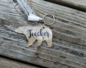 Teacher Bear Keychain