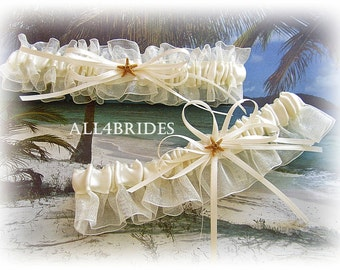 Starfish Bridal Garters, Beach Wedding Bridal Accessories, Real Sugar Starfish