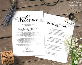 Wedding weekend itinerary, Wedding itinerary, welcome bag letter, note, printable, template, instant download, S12