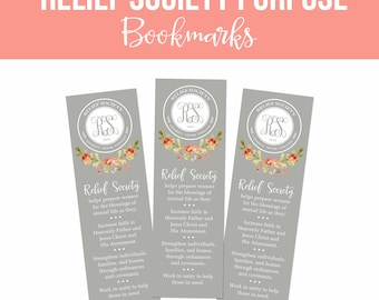 Relief Society Bookmark printables-**UPDATED**-DIY-Instant Download-Relief Society Purpose-LDS