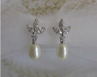 Wedding Pearl Drop Earrings ~ Pearl Drop Earring, Post Drop Earring, Dangle Wedding Earrings, CZ Pearl Earrings, Earrings, Weddings, Bridal