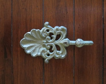 Shabby Chic Wall Hook/ Cast Iron Hook /Metal Wall Hook / Sage Green Hook or Pick Your Color/ Key Hanger/ Nursery/Cottage Country Style
