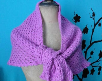 small hand crocheted pink shawl