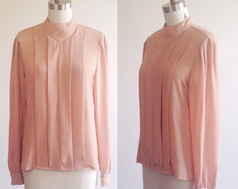 Tan blouse- Blush blouse- Pleated blouse- Pleated shirt- Pleated top- Holiday blouse- Fall blouse- Fall top- High collar- Keyhole shirt