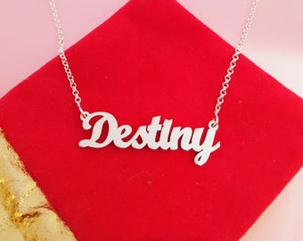 Silver Name Necklace Sterling Silver Necklace Any Name Necklace Personalized Jewelry Custom Necklace Silver Name Chain Destiny Necklace