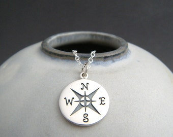 """silver compass necklace. simple everyday jewelry. small sterling silver pendant. compass points travel charm necklace gift for traveler 5/8"""""""