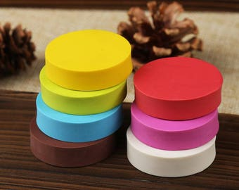 Solid Color Round Rubber Block - DIY Rubber Stamp - Rubber Stamp Graving - Dia 3.6cm - MR024