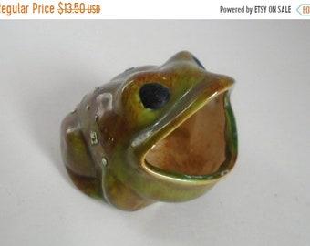 Sale - Vintage 1970's Ceramic Frog Scour Pad Holder - Kitchen Sink Decor