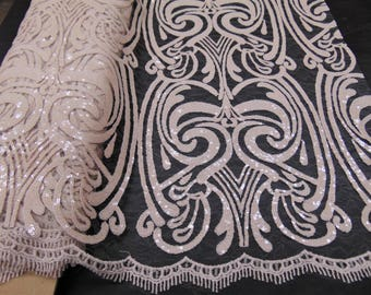 """ART NOUVEAU Damask NUDE Sequin Mesh Polyester Lace Large Fancy Elegant Apparel Wedding Prom Veil Fabric By the Yard 52"""" Wide"""