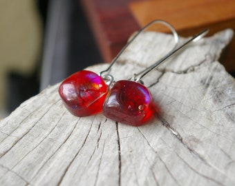 red iridescent fused glass earrings