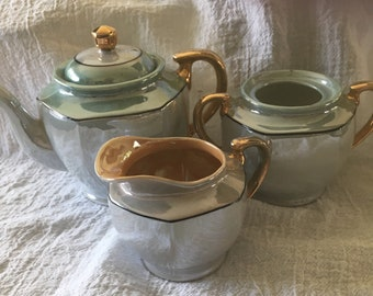Pretty Vintage Green Lusterware Teapot, Sugar Bowl and Creamer Set, Made in Japan