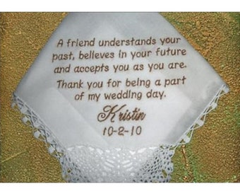 Bridal friendship hankie with love and joy for a BFF. Comes with a wedding ready envelop for easy giving. A hand picked hankerchief of love.
