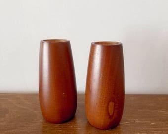 Vintage wood candle holders, mid century Danish modern style rounded walnut or teak