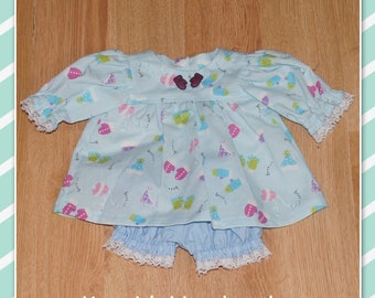 Cabbage Patch Doll Clothes - Dress and Pants - Pale Blue with Mitts and Hats