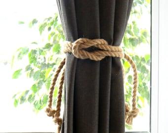 Set of 2 pcs - Square Knot Nautical Curtain Tie-Backs - Beach Decor - Jute Rope Curtain Tiebacks