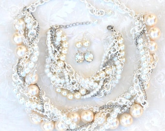 Chunky Pearl Bridal Jewelry Set, Statement Necklace, Bracelet, Earrings Chunky Pearl & Silver Bridal Statement Wedding Jewelry Pearly Q
