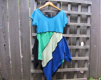 Turquoise Blue Green Pixie Tunic Top Lagenlook Upcycled/ Funky Asymmetrical Eco Blouse/ Hi Lo Womens Tops S/M
