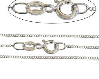 """E-Coated 925 Silver Plated 1.4mm Diamond Cut Curb Chain 16"""" to 40"""" Inch, All Sizes, Necklace, Superb European Quality."""