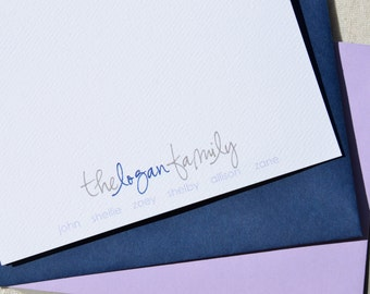 Personalized Notecards ~ Family Fold-Over Notecard