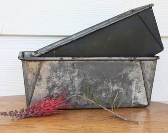 Two Rustic Baking Tins/ Bread Tins ~ Steel Cake Tin Rustic Patina Farmhouse Kitchen ~ Photography Styling Props ~ Price for Both