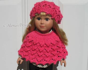 Knitting Pattern 2 PC Set for 18 inch Doll Knitting Patterns Lace Slouchy Beanie Hat & Poncho for American Doll Outfit My Life As Girl Gift