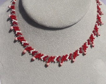 Beaded Red and White Woven Choker