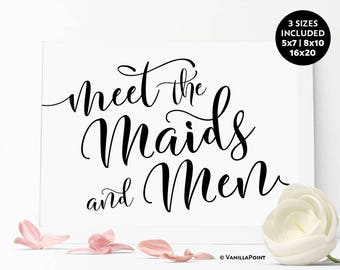 Meet The Maids And Men Wedding Printable Signs Meet the Bridesmaids And Groomsmen Wedding Party Sign Wedding Table Signs Wedding Decorations