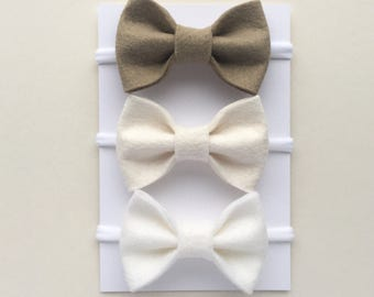 Neutral Baby Headbands, Baby Bow Set, Newborn Headband, Baby Girl Headband, Felt Bow Headband, Girls Hair Bows, Nylon Headband, Headband Set