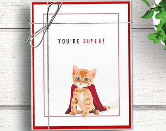 Cat Thank You Notecard Set, Cat note cards, Postcard-style thank you card set with envelopes Cat thank you cards bulk. Funny thank you cards