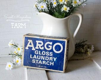 Vintage Argo Gloss Laundry Starch Box - 8 oz Vintage Advertising - Laundry Bath Room - Country Farmhouse Retro Chic Decor - 1960s Drugstore