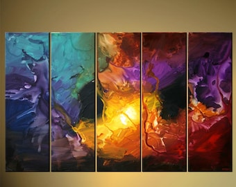 "Modern Abstract Painting Colorful Acrylic Art on Canvas by Osnat - MADE-TO-ORDER - 60""x36"""