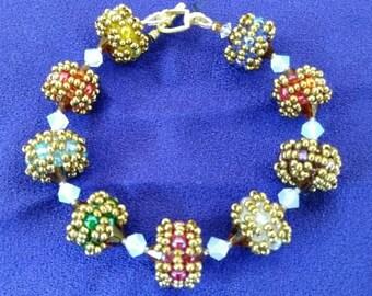 Amber Rainbow Beaded Bead Bracelet