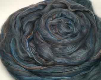 Merino Wool Roving  Denim Multi 4 ounces