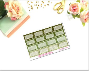 Earthy Green Glitter Squared Half Boxes