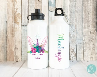 Personalized Bunny Unicorn Water Bottle with Name, Personalized Kids Water Bottle Personalized Gift, Custom Name Water Bottle, Easter Gifts
