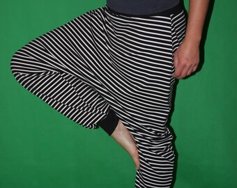 striped Bloomers  Harem Pants Sarouel pants black white striped pants
