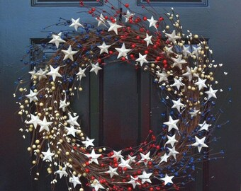 SPRING WREATH SALE Memorial Day Wreath, Fourth of July Wreath, Americana Wreath, Patriotic Door Wreath, Country Wreath, Rustic Wreath Stars