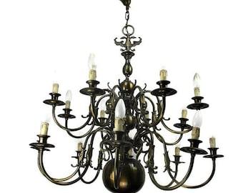 Impressive Huge Double Castle Chandelier 16 Lights Fish HTF Ornate Brass