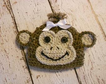 Crochet Monkey Hat-Newborn to Adult-Photo Prop