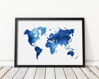 Navy world map etsy navy blue watercolor world map print blue world map poster morden art nursery gumiabroncs Choice Image